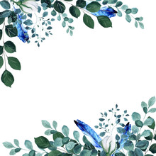 Assymetrical Floral Frame With Green Twigs And Blue Feathers