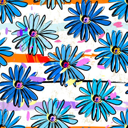 seamless flower pattern springtime background, with stripes, paint strokes and splashes