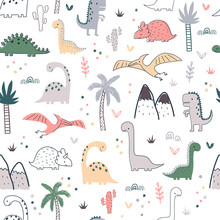Cartoon Seamless Pattern With Dinosaurs And Palm Trees