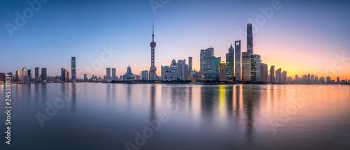Pudong Skyline Panorama, Shanghai, Volksrepublik China
