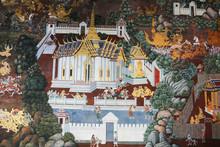 Thai Mural Painting In Wat Phra Kaew Temple, Bangkok, Thailand
