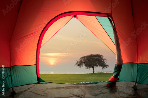 Türaufkleber Violett rot Tent view on window with sunset or sunrise background