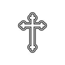 Orthodox Cross Icon. Flat Design. Vector Illustration.