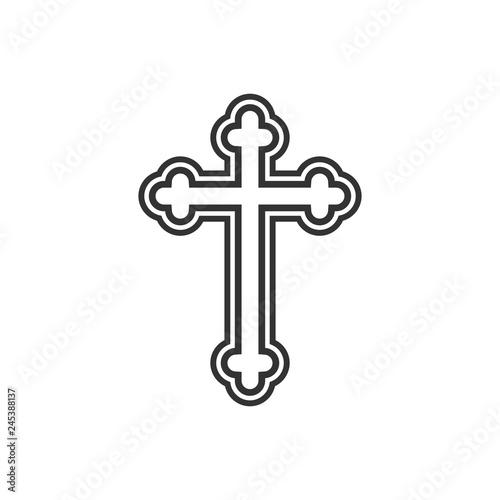 Fotografia Orthodox cross icon. Flat design. Vector illustration.
