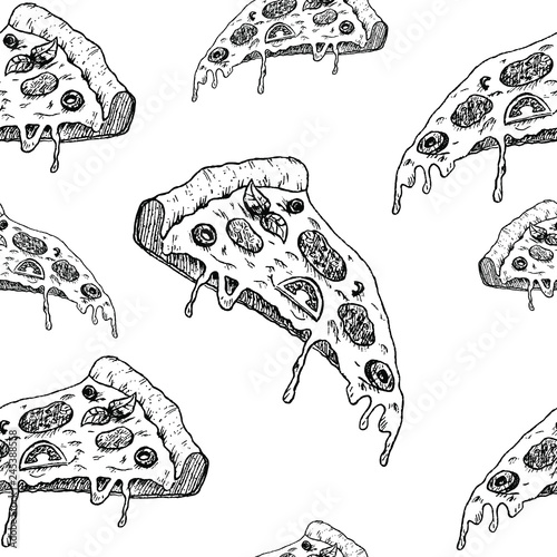 pizza sketch pattern, seamless vector pattern, hand drawn