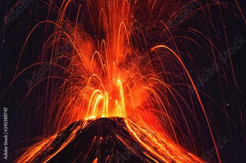 Erupting Volcano, el Fuego, Guatemala, 21. 04. 2018 Canvas Print