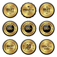 Set Of Golden Badges And Labels