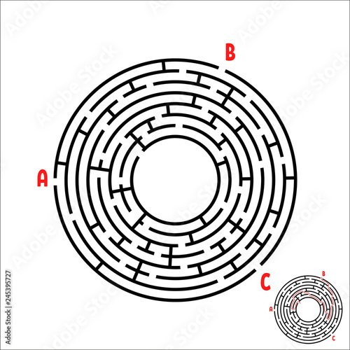 Black round maze  Game for kids  Children's puzzle  Many