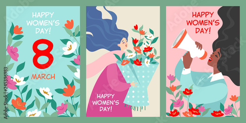 Fotografie, Obraz  Set of vector postcards to the international women's day