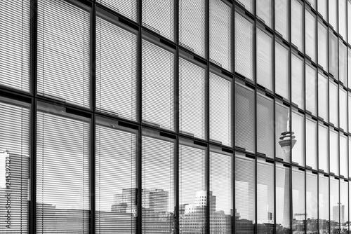 Fotografie, Obraz  Duesseldorf, GERMANY - January 20, 2019: Skyline of new Media Harbour reflects i