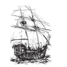 Pirate Galleon At Sea