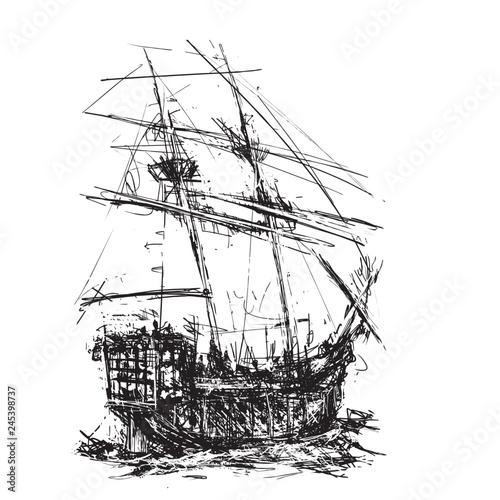 Fotografie, Obraz  Pirate Galleon at Sea