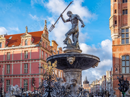 Fotografie, Obraz  Gdansk, Poland, old town, statue of Neptune fountain, symbol of city Gdansk