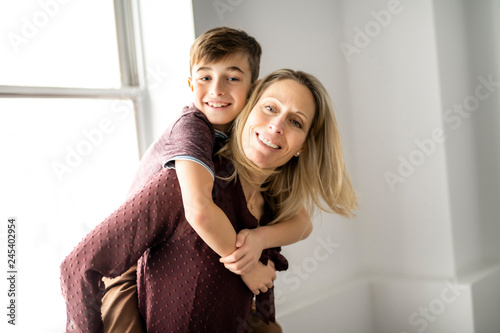 A people and family happy boy with mother at home Canvas-taulu