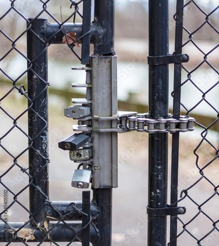 Multiple Locks Securing Chain Link Fence Gate Buy This Stock Photo And Explore Similar Images At Adobe Stock Adobe Stock