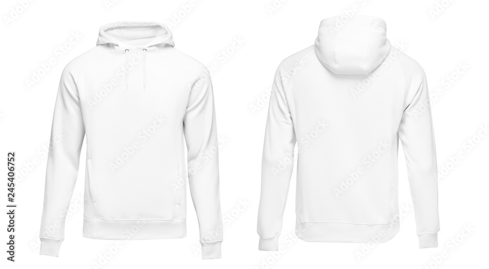 Fototapety, obrazy: White male hoodie sweatshirt long sleeve with clipping path, mens hoody with hood for your design mockup for print, isolated on white background. Template sport clothes