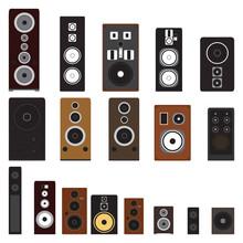 Loudspeaker Objects. Set Of Different Sound Speaker Objects. Vector Illustration