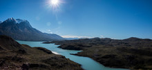 Landscape In Patagonia With River And Mountains