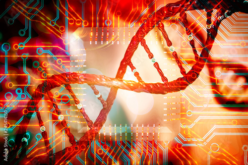 Photo DNA and circuits board concept bioinformatics DNA data storage DNA protein datab
