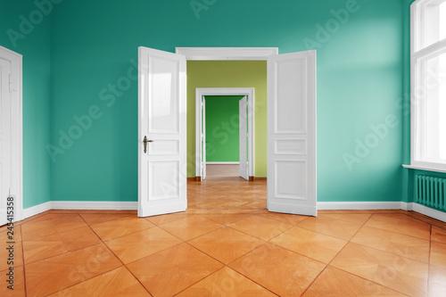 empty apartment room with wooden floor Wallpaper Mural