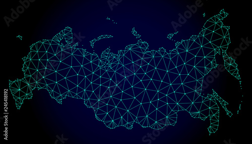 Fototapeta Polygonal mesh map of Russia