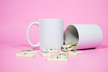 Coffee Mugs With Background Pink Vitage Anda Dominoes
