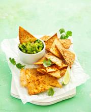 Corn Tortilla Chips With Guacamole Dip.