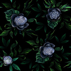 Panel Szklany Podświetlane Do restauracji Seamless pattern of different white and blue peony flowers and leaves on dark black background.