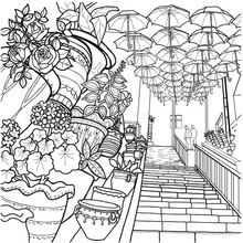 Coloring Pages. Flying Umbrellas. People Climbing The Stairs In Old Amman Area Umbrellas Artwork Installation  On Top With Many Colors And Illustrations. Clay Pots With Different Colors .
