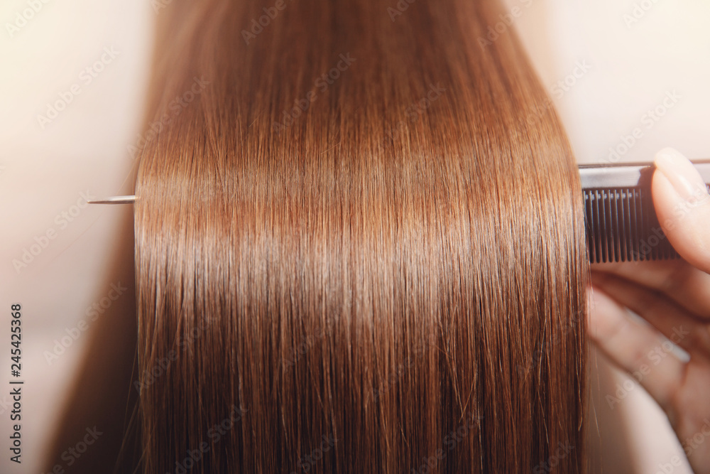 Fototapety, obrazy: Sick, cut and healthy hair care straightening. Before and after treatment