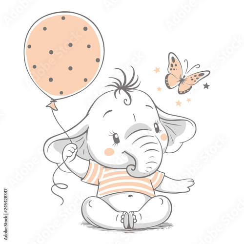 fototapeta na ścianę Hand drawn vector illustration of a cute baby elephant with balloon.