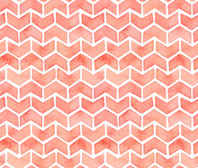 Watercolour Chevron Seamless Pattern. Gentle Pastel Tint, Beautiful Geometric Shapes, Soft Stylish Texture. Abstract Positive Hand Drawn Ink Water Colour Gradient, Illustration On White Backdrop.