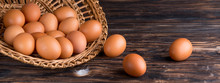 Chicken Eggs In A Straw Tray O...