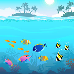 Fototapeta na wymiar Beautiful underwater world, seascape, fish and sea bottom, seaweed, plants, islands with palm trees, vector illustration