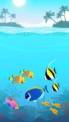Fototapeta na wymiar Beautiful underwater world, seascape, fish and sea bottom, seaweed, plants, islands with palm trees, mobile phone lock screen underwater wallpaper format, vector illustration