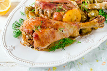 Baked Turkey Legs With Brussel...