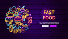 Fast Food Neon Banner Design