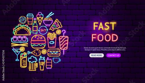 Canvas-taulu Fast Food Neon Banner Design
