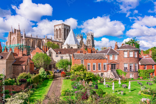 York, England, United Kingdom: York Minster, cathedral of York, England, one of the largest of its kind in Northern Europe seen from the city walls