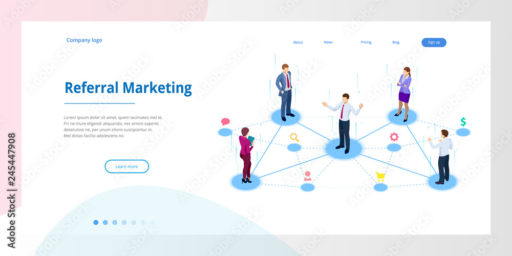 Fototapeta Isometric Referral marketing, network marketing, referral program strategy, referring friends, business partnership, affiliate marketing concept.