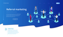 Isometric Referral Marketing, Network Marketing, Referral Program Strategy, Referring Friends, Business Partnership, Affiliate Marketing Concept.