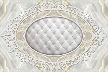 Fototapeta Na sufit 3d ceiling, stucco decor frame, white leather quilted buttoned in the middle on marble background. 3d wallpaper.