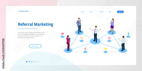 Isometric Referral marketing, network marketing, referral program strategy, referring friends, business partnership, affiliate marketing concept Wallpaper Mural
