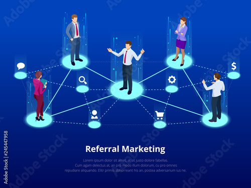 Isometric Referral marketing, network marketing, referral program strategy, referring friends, business partnership, affiliate marketing concept Canvas Print