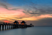 Sunset Over The Gulf Of Mexico From Naples Pier In Naples, Florida