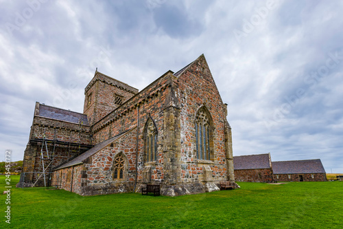 Iona Abbey Exterior on a Cloudy Day Wallpaper Mural