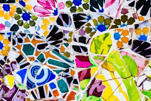 Fotografía Carreaux mosaïques colorées du Park Güell, Barcelone, Espagne