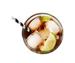 Glass of cocktail with cola, ice and cut lime on white background, top view