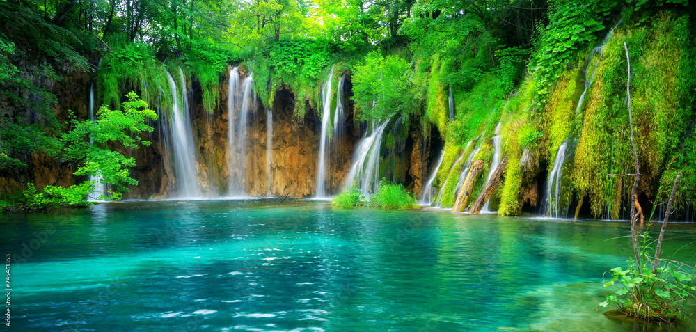 Fototapety, obrazy: Exotic waterfall and lake landscape of Plitvice Lakes National Park, UNESCO natural world heritage and famous travel destination of Croatia. The lakes are located in central Croatia (Croatia proper).