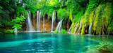 Exotic waterfall and lake landscape of Plitvice Lakes National Park, UNESCO natural world heritage and famous travel destination of Croatia. The lakes are located in central Croatia (Croatia proper).